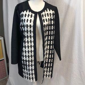 Black & white jacket with hook & eye closure!